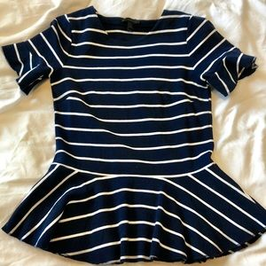 JCrew stripped Peplum Top